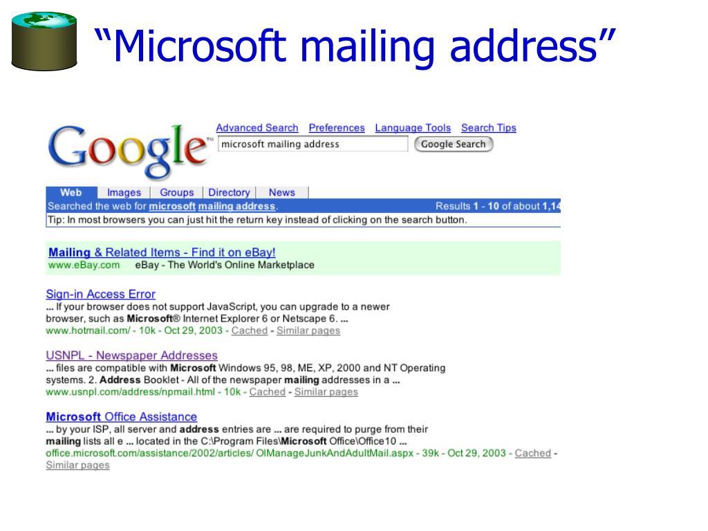 """Microsoft mailing address"""