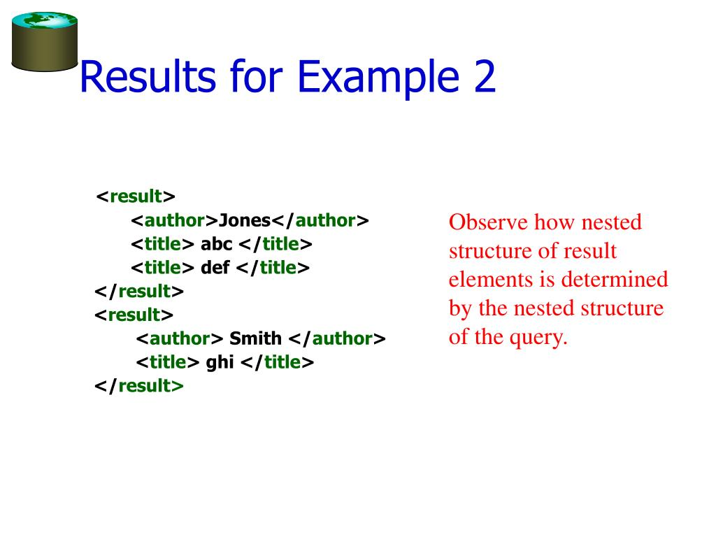 Results for Example 2