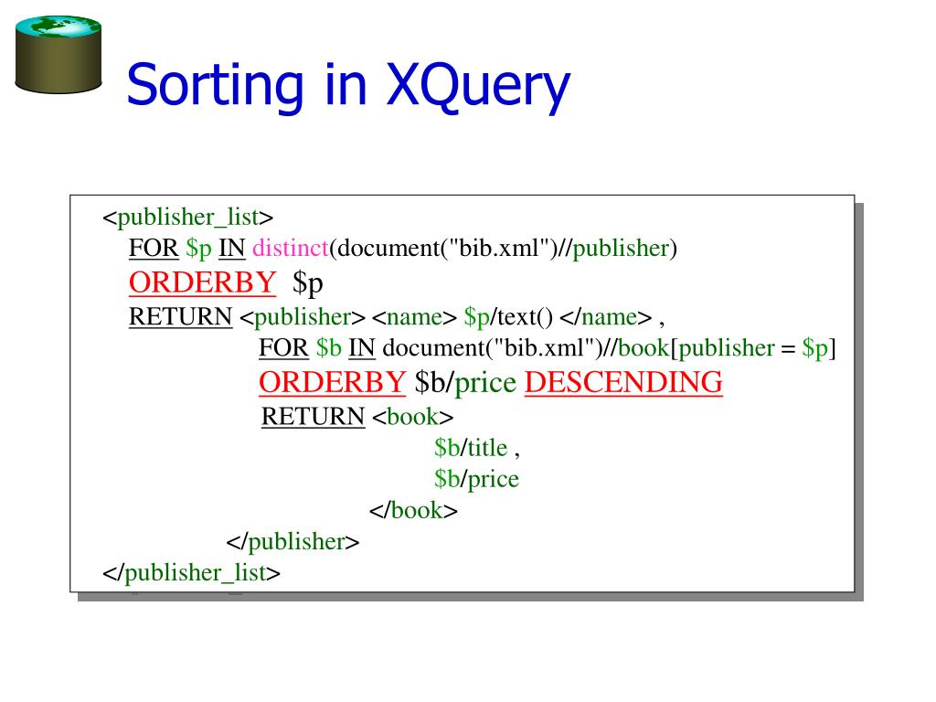 Sorting in XQuery