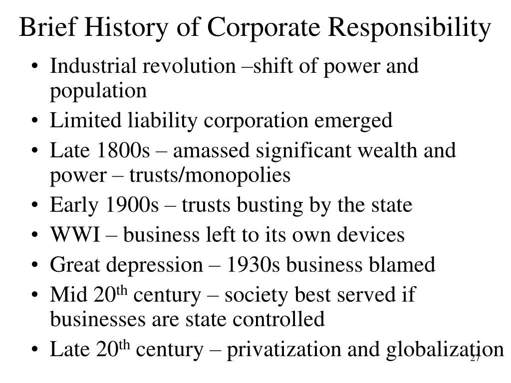 Brief History of Corporate Responsibility