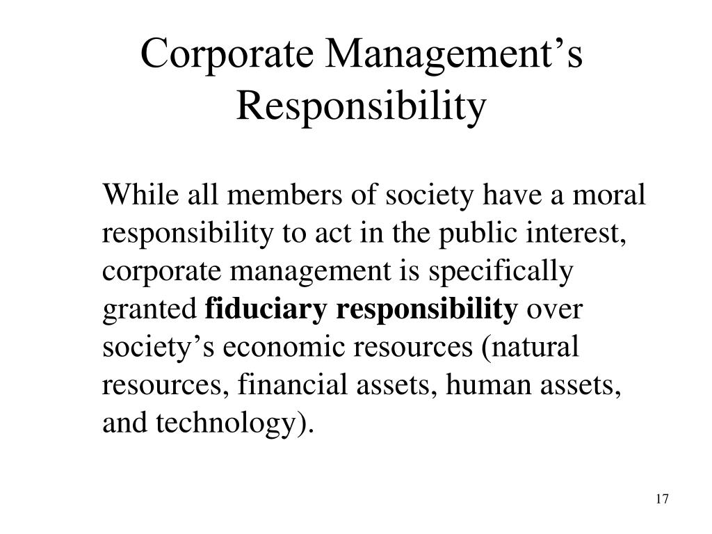 Corporate Management's Responsibility