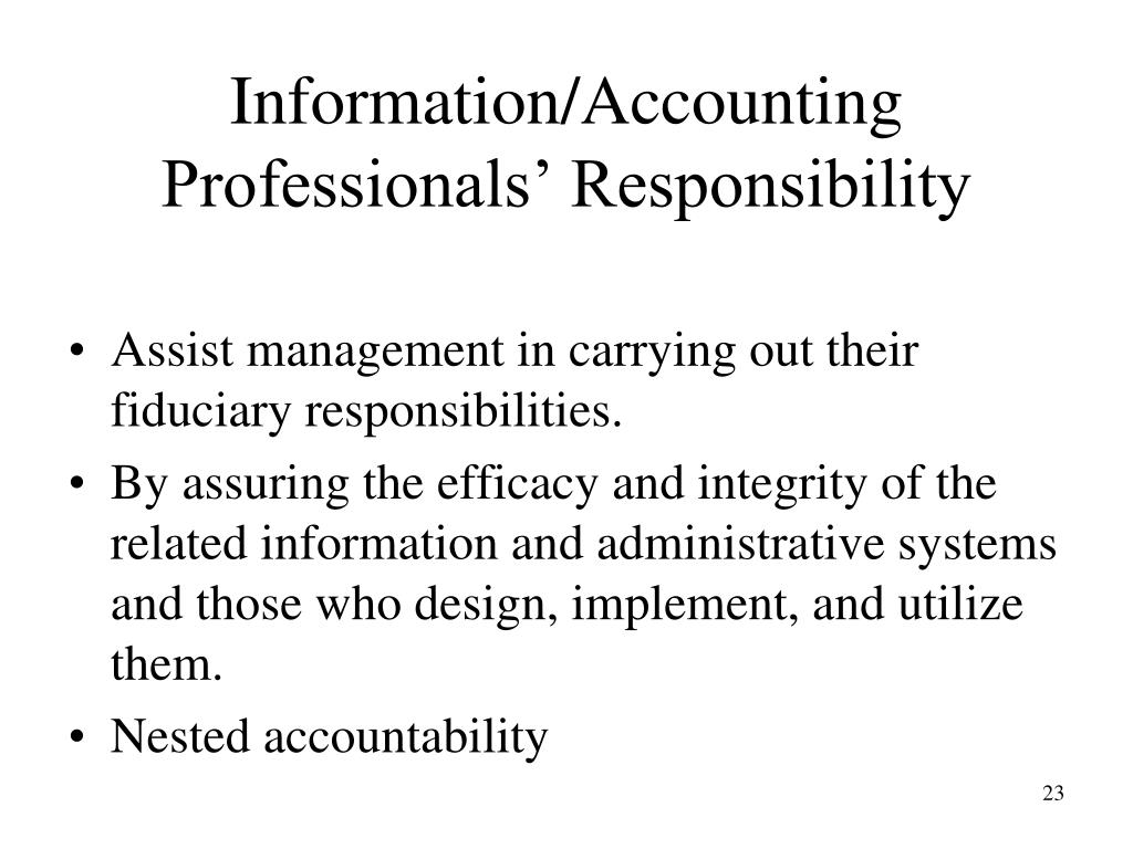 Information/Accounting Professionals' Responsibility