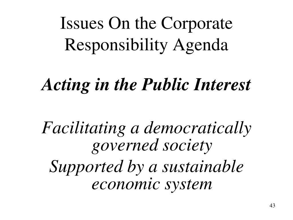 Issues On the Corporate Responsibility Agenda