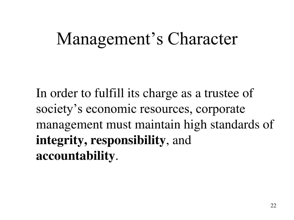 Management's Character