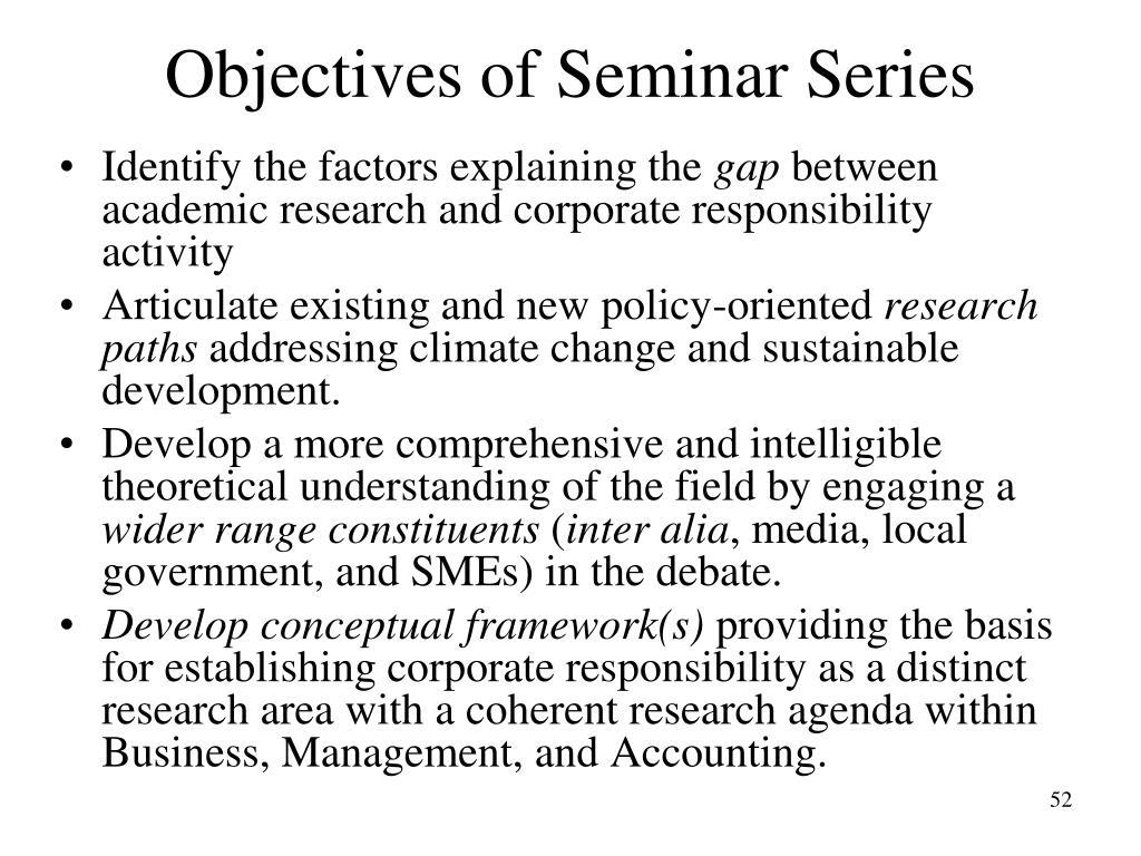 Objectives of Seminar Series
