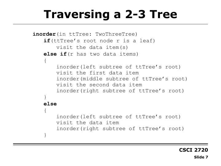 Traversing a 2-3 Tree