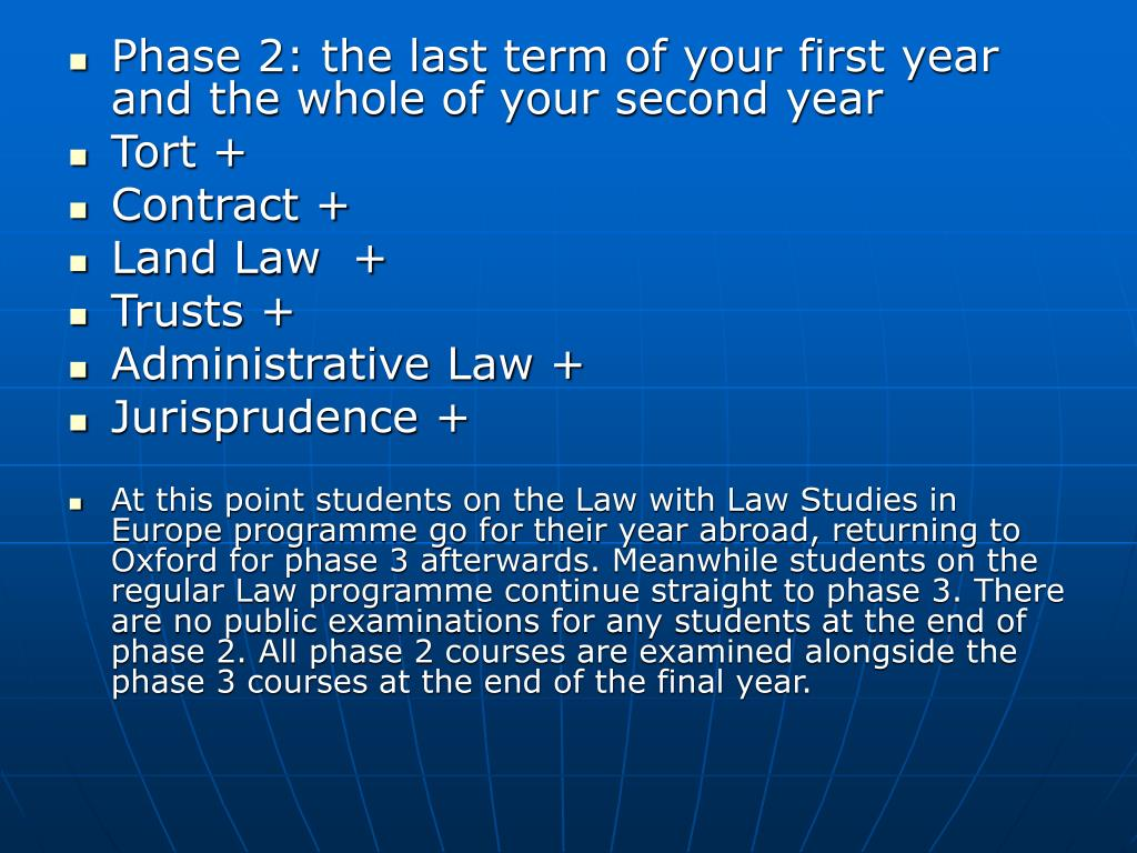 Phase 2: the last term of your first year and the whole of your second year