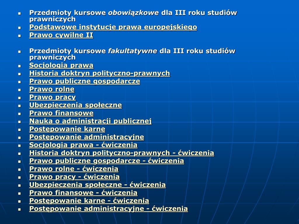 Przedmioty kursowe