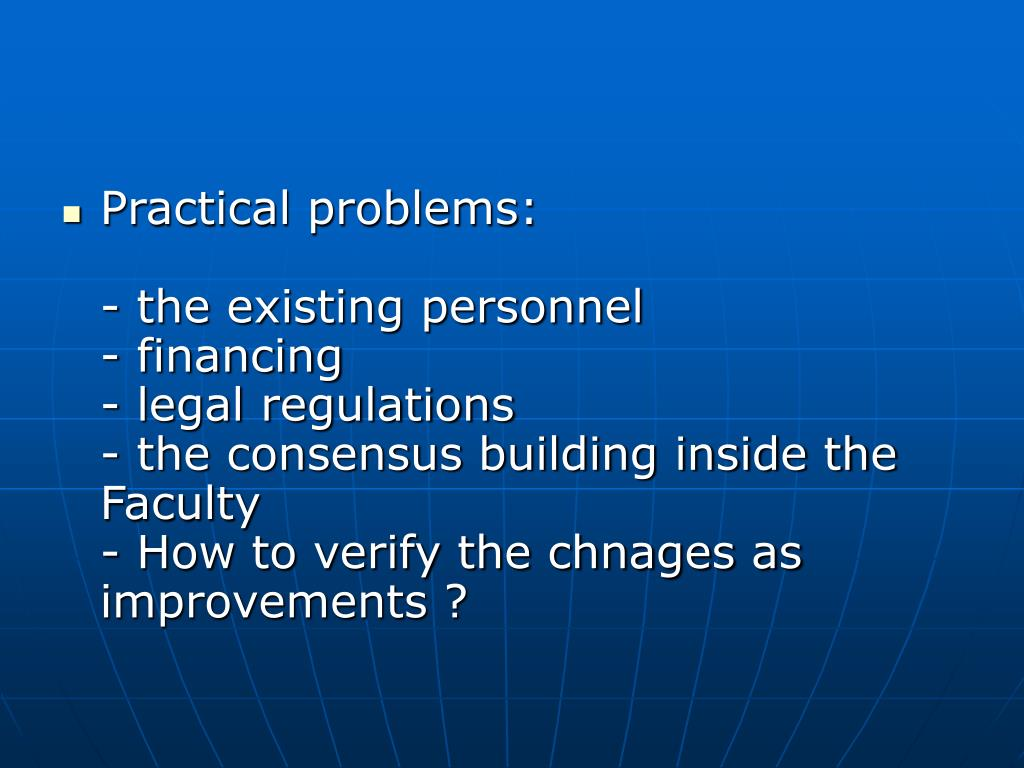 Practical problems: