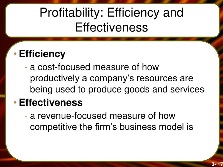 Profitability: Efficiency and Effectiveness