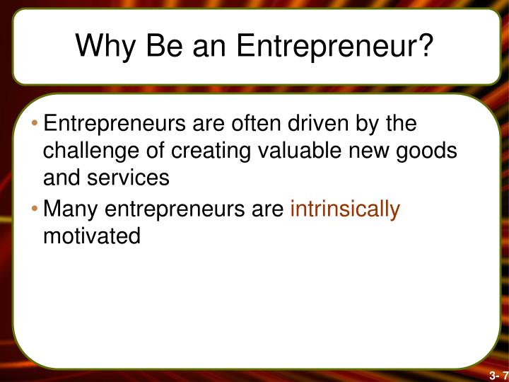 Why Be an Entrepreneur?