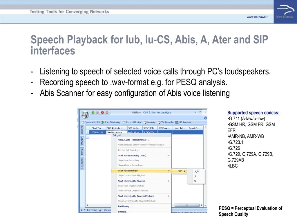 Speech Playback for Iub, Iu-CS, Abis, A, Ater and SIP interfaces