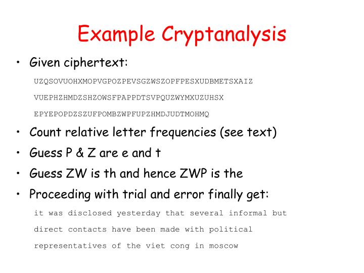 Example Cryptanalysis