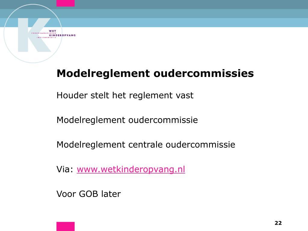 Modelreglement oudercommissies