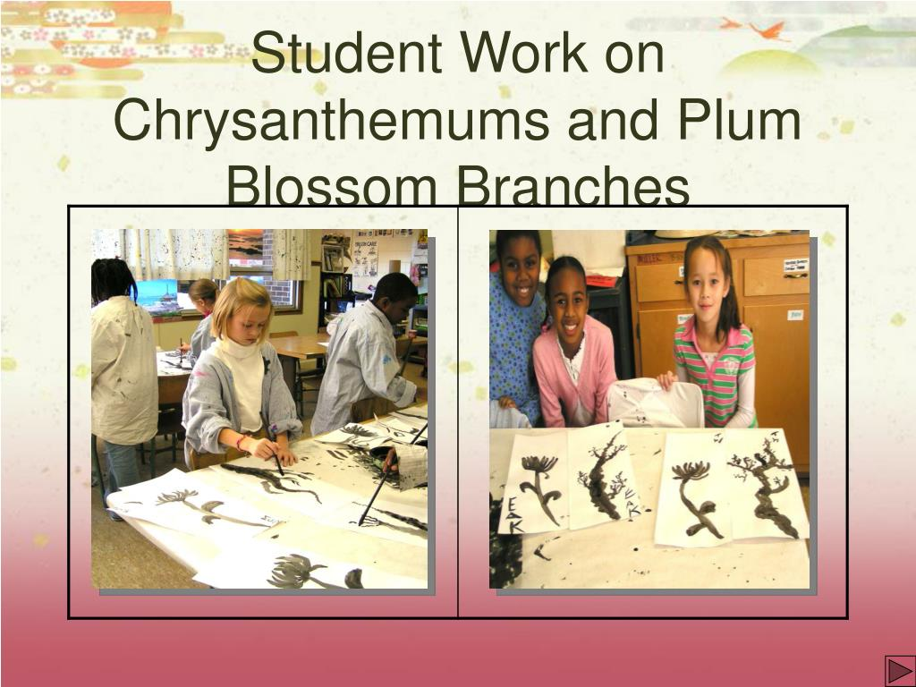 Student Work on Chrysanthemums and Plum Blossom Branches