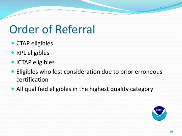 Order of Referral