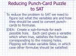 reducing punch card puzzle to sat