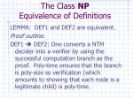 the class np equivalence of definitions