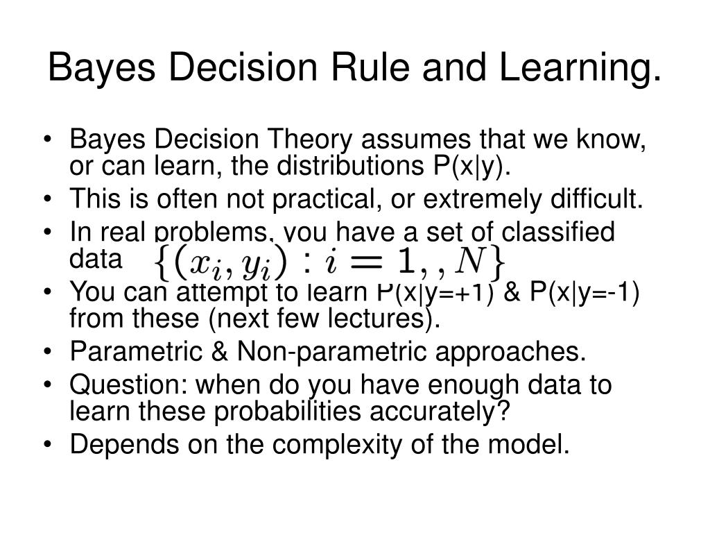 Bayes Decision Rule and Learning.