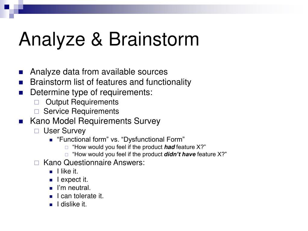 Analyze & Brainstorm