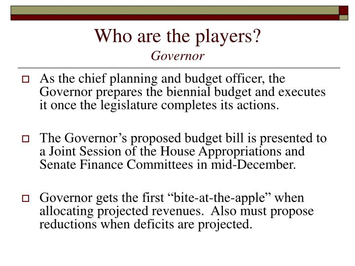 Who are the players governor