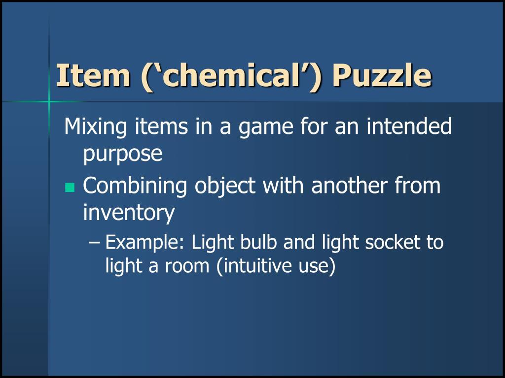 Item ('chemical') Puzzle