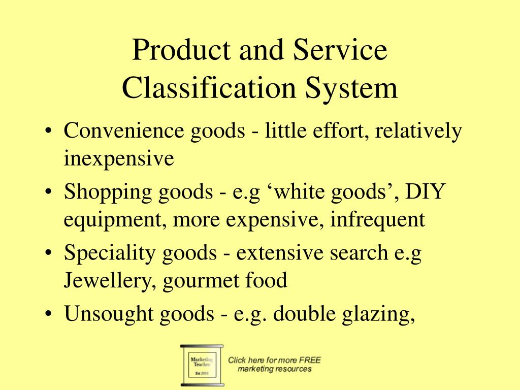 Product and Service Classification System