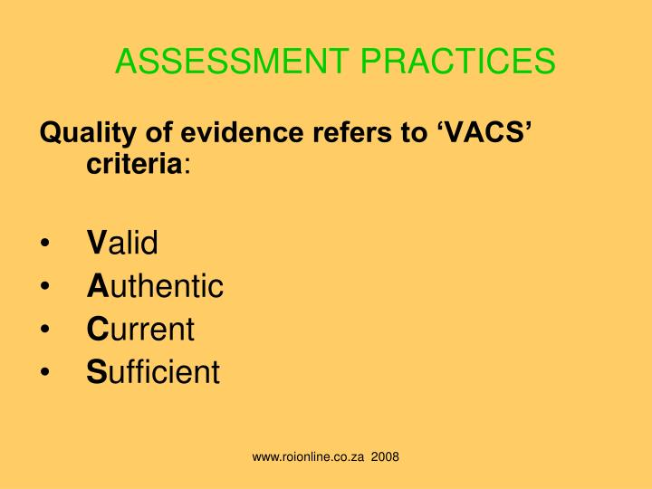 ASSESSMENT PRACTICES