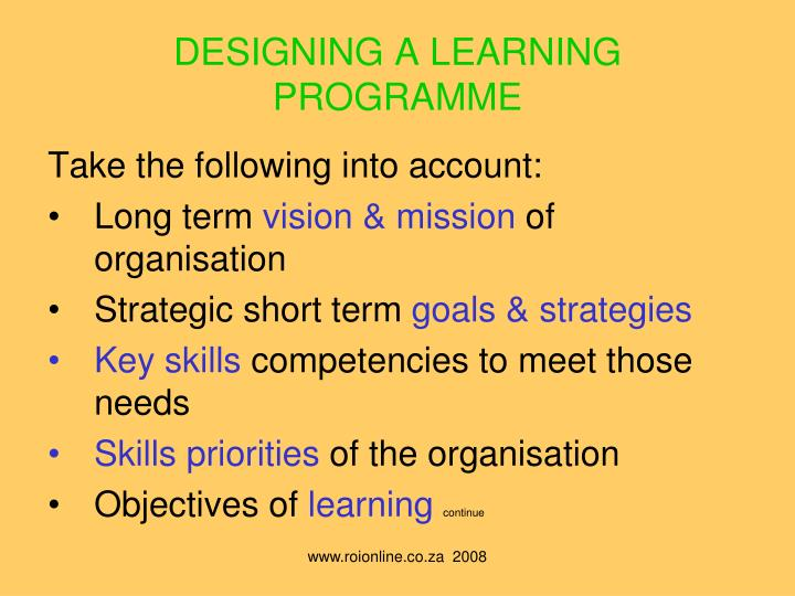 DESIGNING A LEARNING PROGRAMME