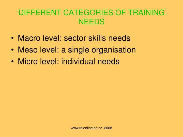 DIFFERENT CATEGORIES OF TRAINING NEEDS