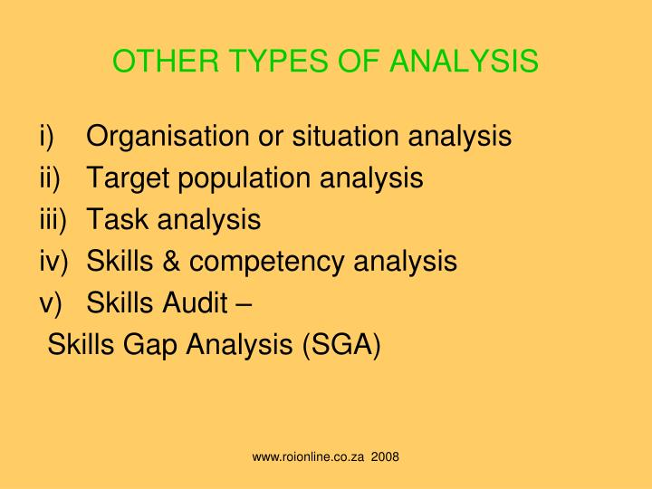 OTHER TYPES OF ANALYSIS