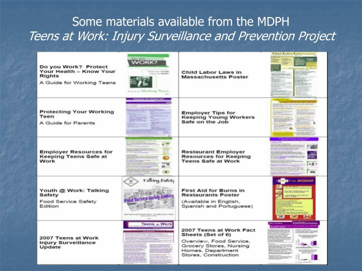 Some materials available from the MDPH