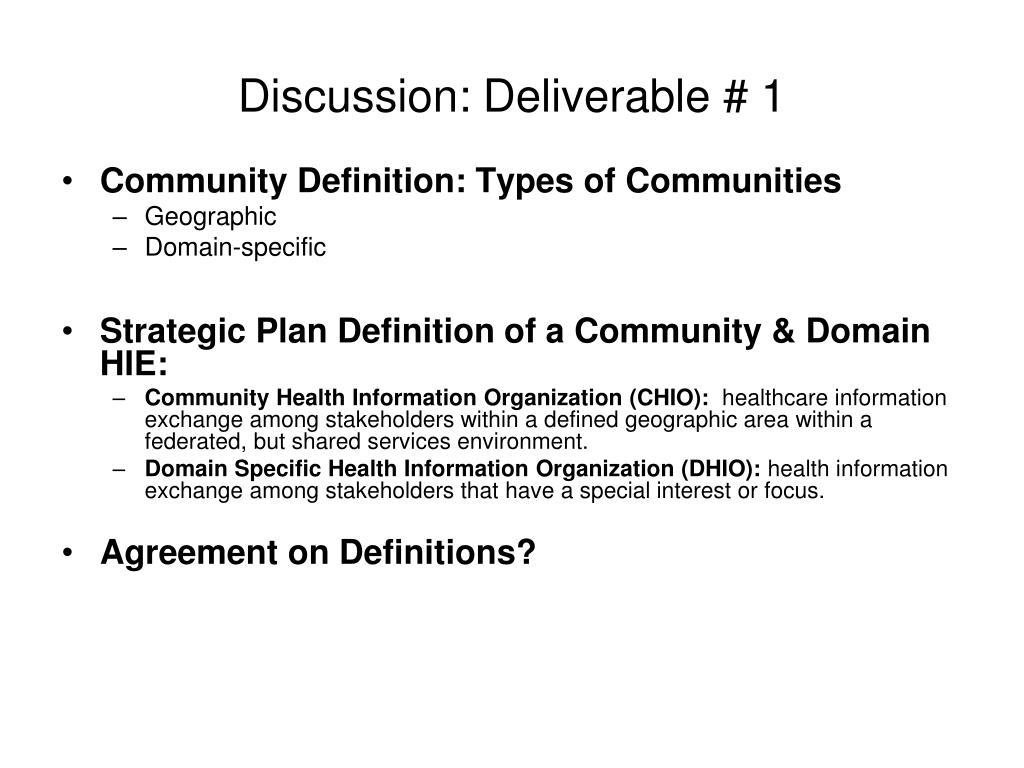 Discussion: Deliverable # 1