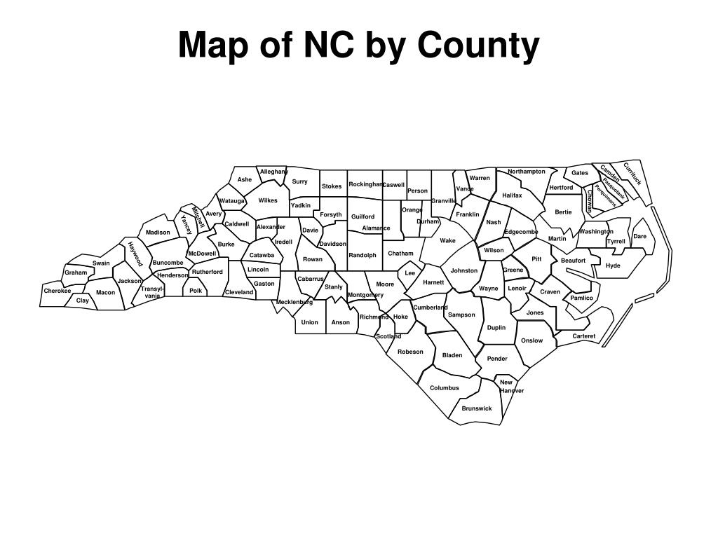 Map of NC by County