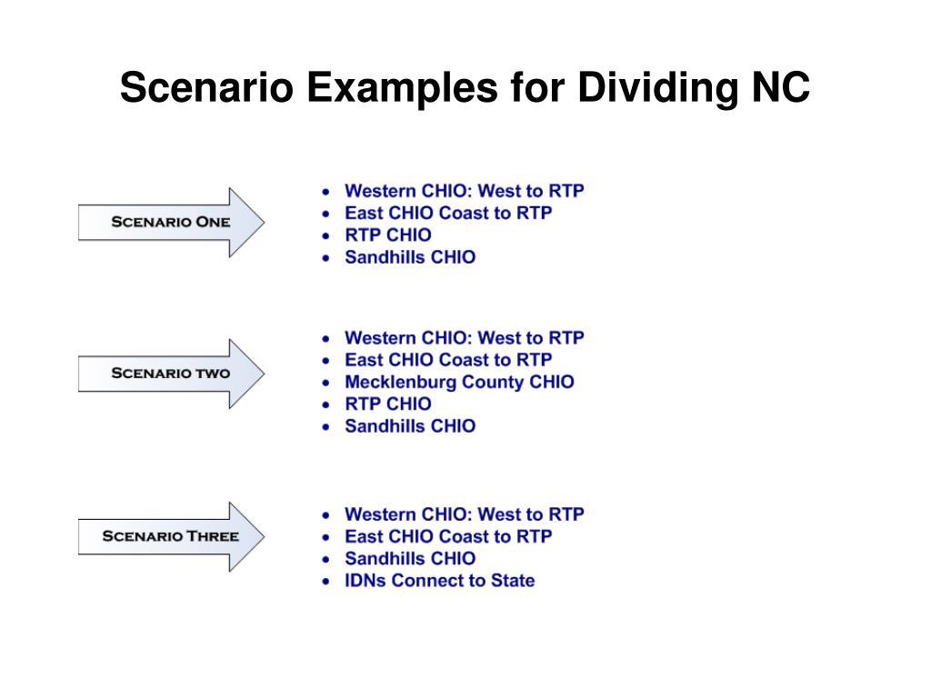 Scenario Examples for Dividing NC