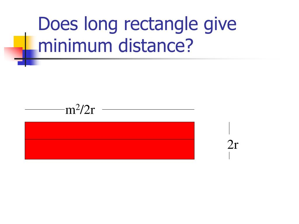Does long rectangle give minimum distance?