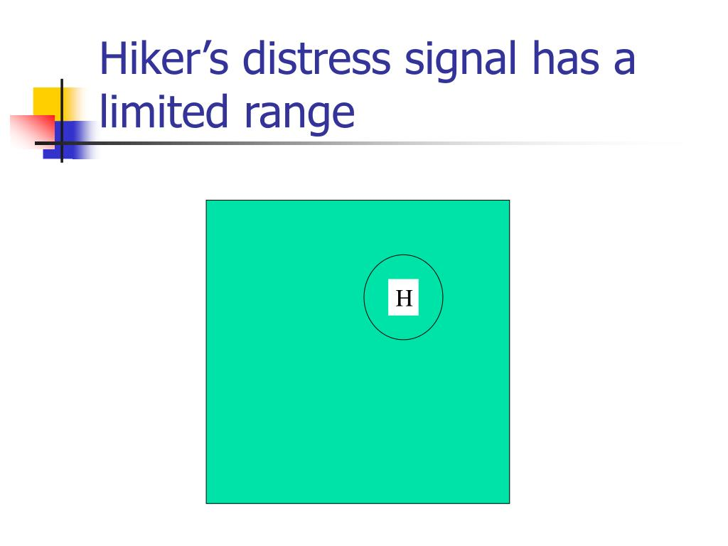 Hiker's distress signal has a limited range