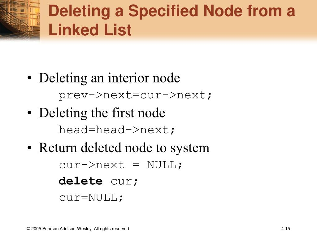 Deleting a Specified Node from a Linked List