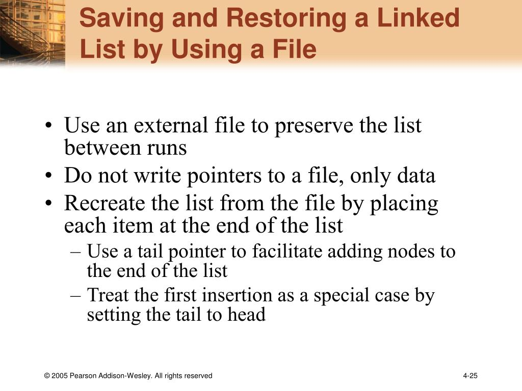 Saving and Restoring a Linked List by Using a File