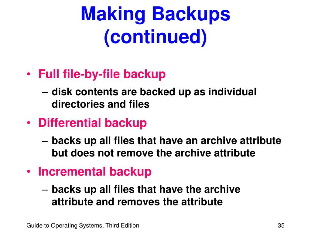 Making Backups (continued)