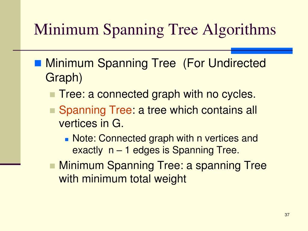 Minimum Spanning Tree Algorithms