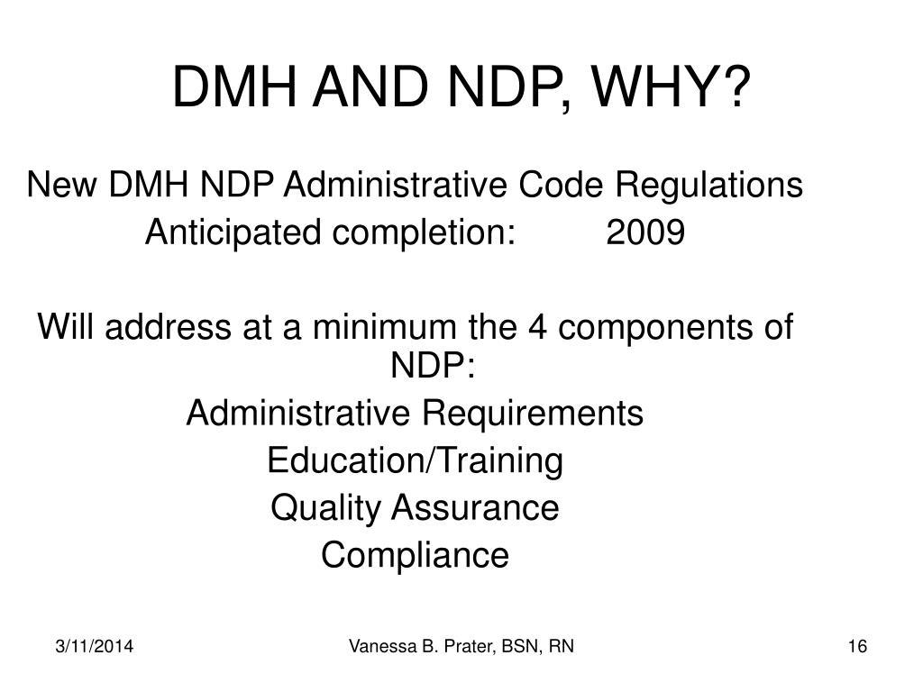 New DMH NDP Administrative Code Regulations