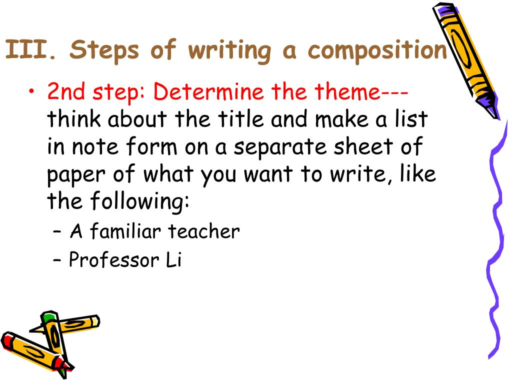 writing a composition A classic format for compositions is the five-paragraph essay it is not the only format for writing an essay, of course, but it is a useful model for you to keep in.