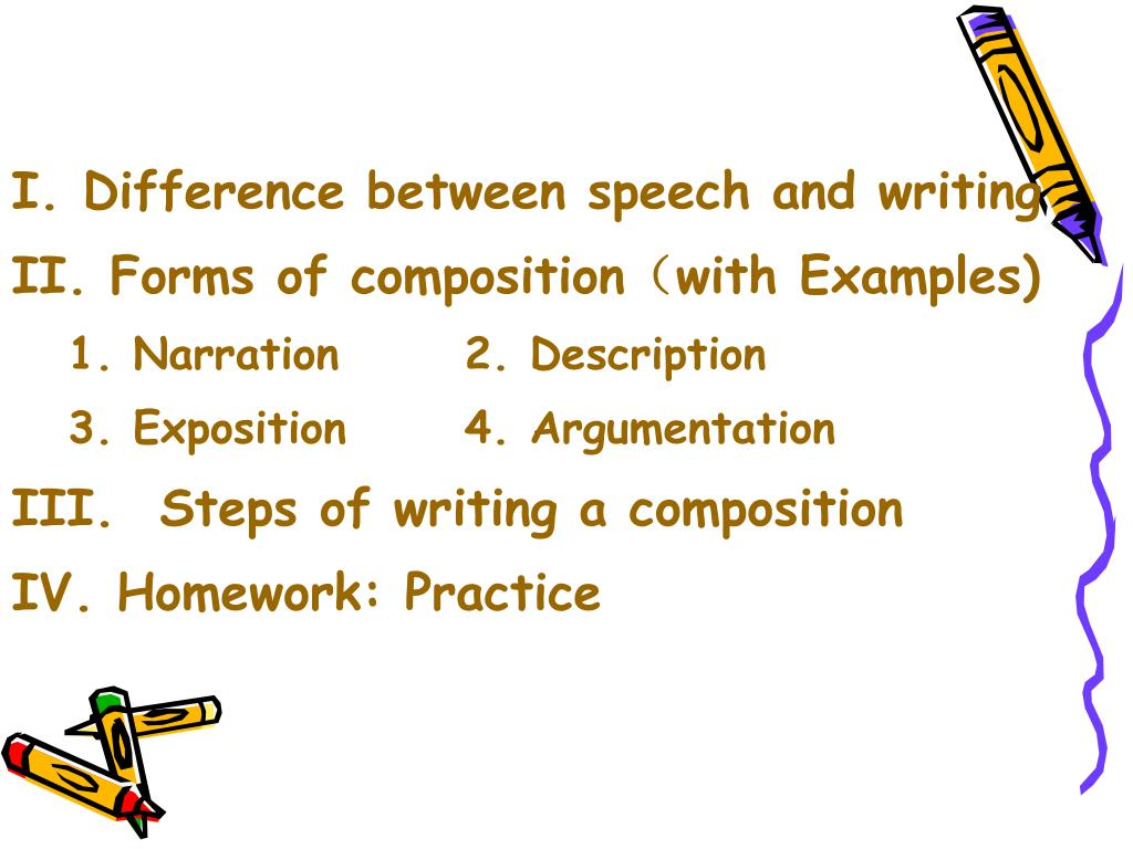 I. Difference between speech and writing