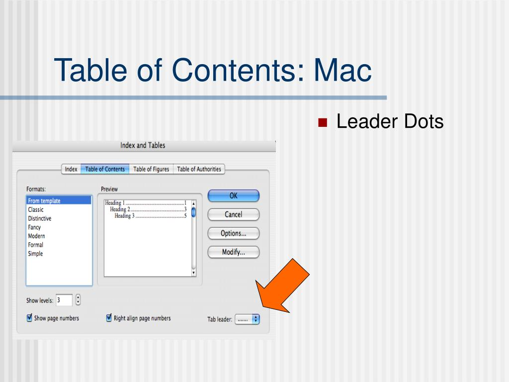 how to add table of contents in word mac