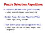 puzzle selection algorithms