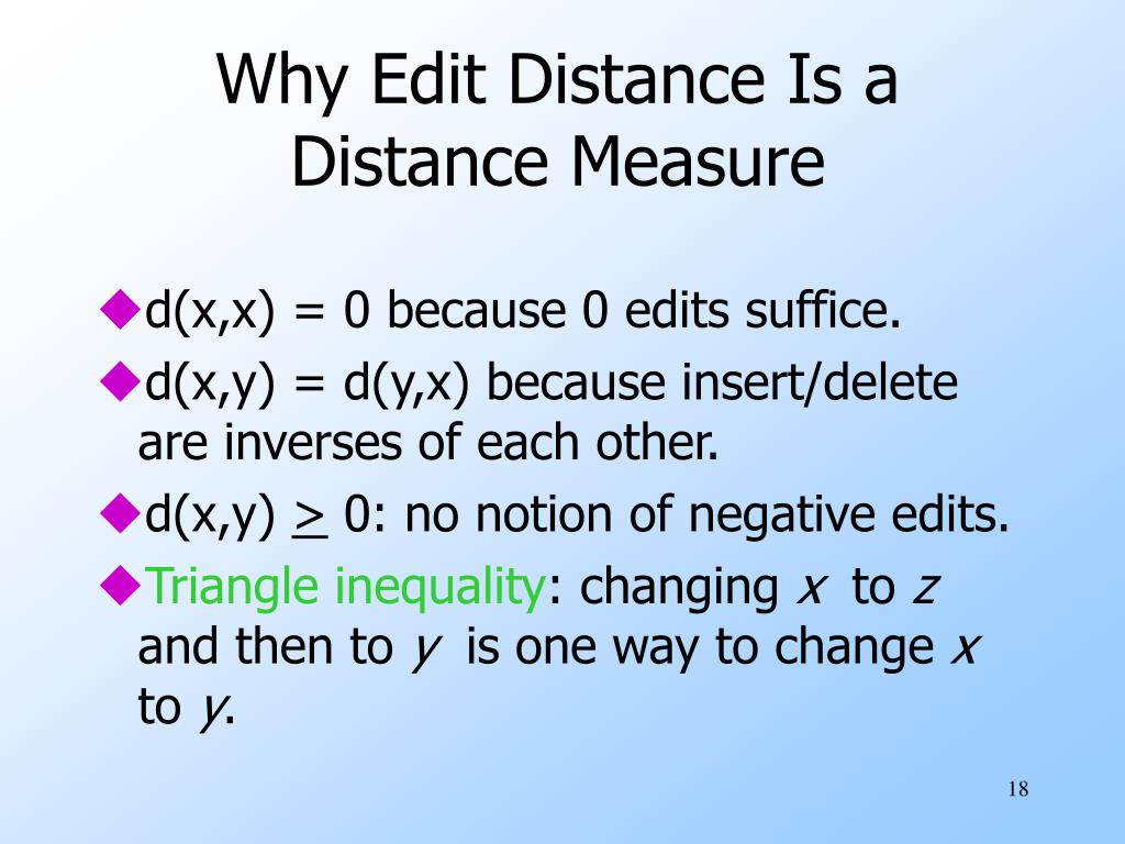 Why Edit Distance Is a Distance Measure
