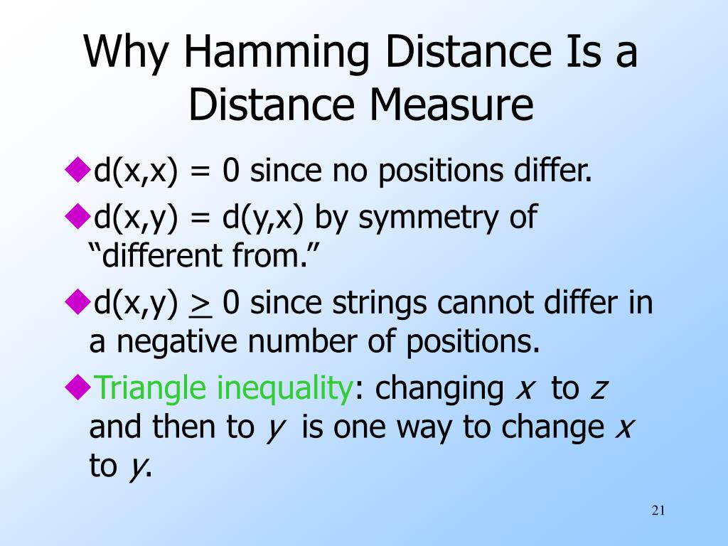 Why Hamming Distance Is a Distance Measure