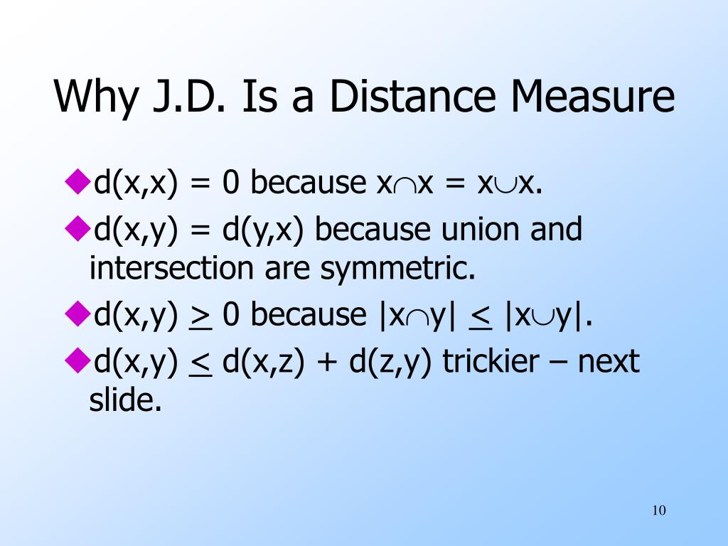 Why J.D. Is a Distance Measure