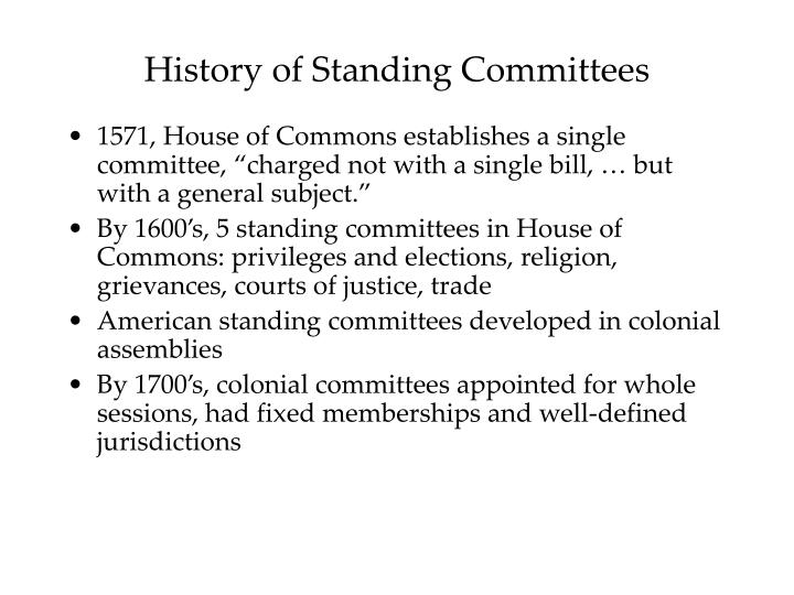 History of standing committees